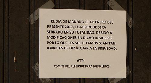 Aviso de Desalojo del Albergue de Jornaleros en Tanhuato