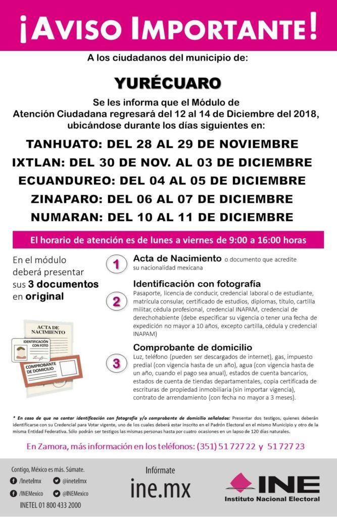 Módulo Del Ine Visitará Ixtlán Ecuandureo Zináparo