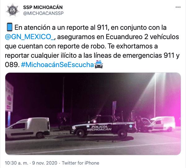 autos robados y recuperados en Ecuandureo 2